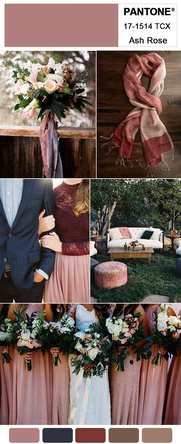 Ash Rose Pink, Mulberry and Navy Blue Fall Wedding Color Inspitation