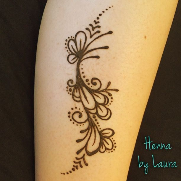Simple Henna Tattoo Flower Designs: Easy Henna Flower Design On The Calf Created By Denver