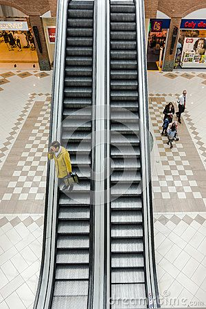 Escalator in the schopping galery Plaza in Krakow. Poland.