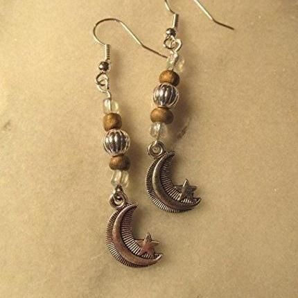 Moon earrings beaded earrings drop earrings boho earrings hippie earrings clip on option screw back option.