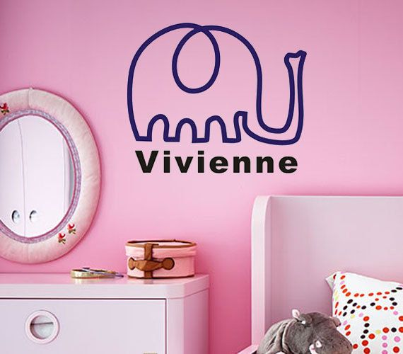 Custom name wall stickercute elephant decalkids room nursery wall decal personalized