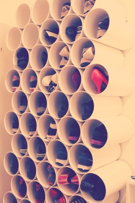 PVC Pipes Are An Amazing Way To Store Shoes!