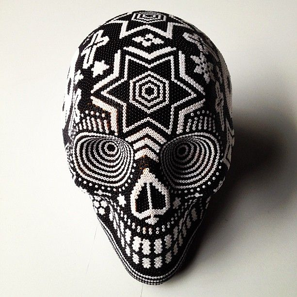Day of the Dead: huichol beaded skull