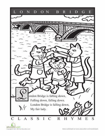 Worksheets: Color a Nursery Rhyme: London Bridge