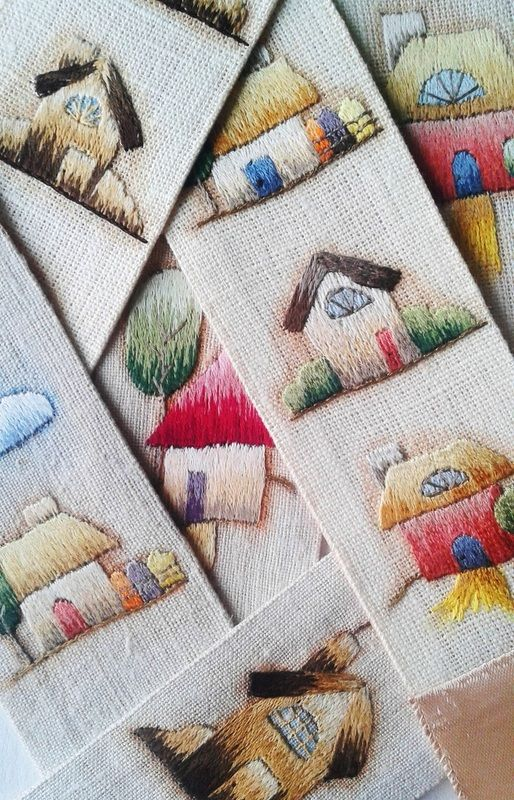 Hand Embroidered Bookmarks by Embroydery is Vital, silk on vintage linen