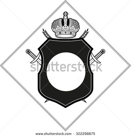 Vector coat of arms design template. Crown, shield, sword, circle, sun, garland icons isolated.  - stock vector