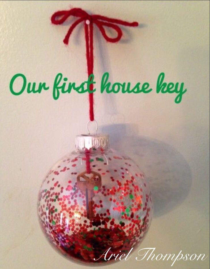 Christmas ornament with our first house key as a married couple