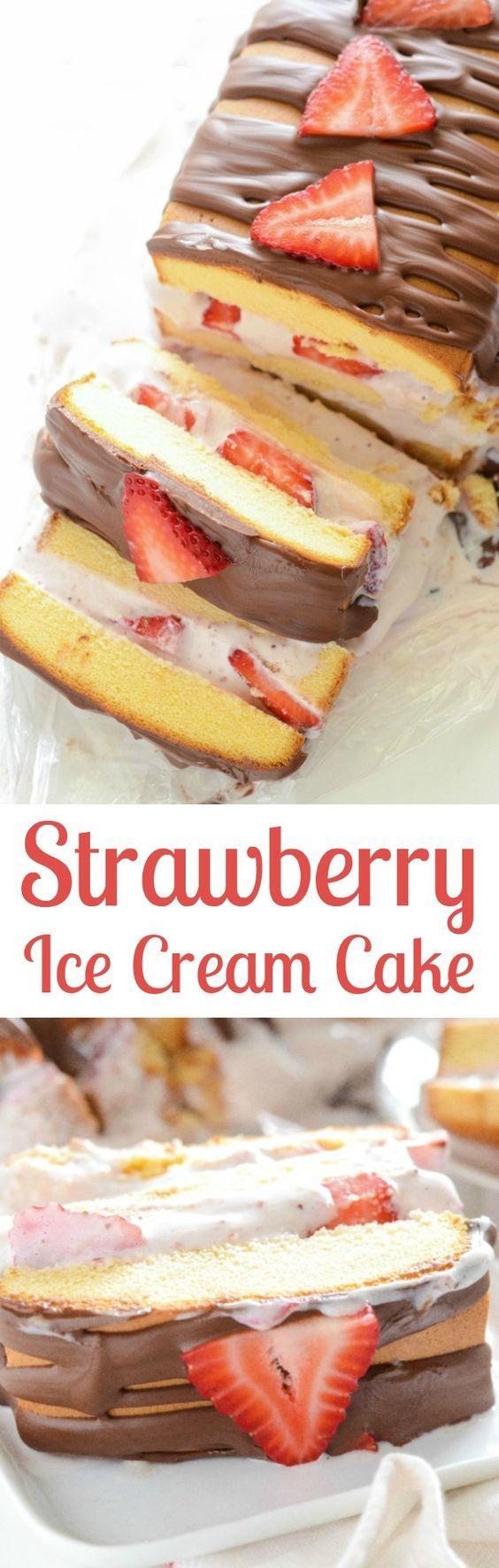 Strawberry Ice Cream Cake! An easy recipe using store bought pound cake, strawberry ice cream, fresh strawberries!