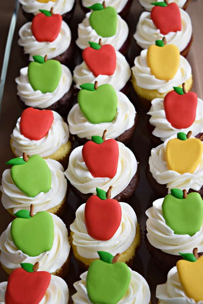 Fondant topped cupcakes at an apple of my eye birthday party! See more party planning ideas at CatchMyParty.com!