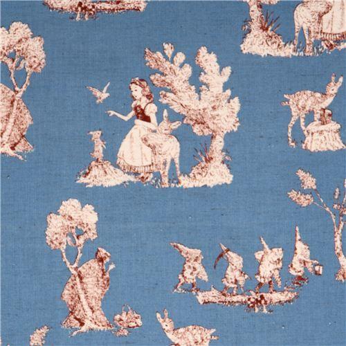 tessuto blu fiabe Kokka con nani, Biancaneve, alberi, animali, ecc.