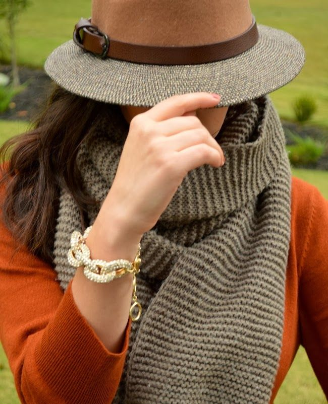 hats and chunky scarves for fall! And of course a rust colored sweater :)