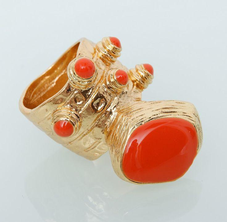 Кольцо YSL Yves Saint Laurent золото с оранжевым #19020