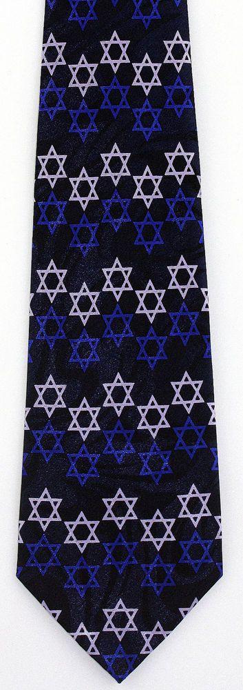 New Blue Stars of David Mens Necktie Jewish Hebrew Hanukkah Religious Neck Tie #StevenHarris #NeckTie