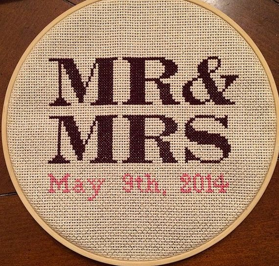These custom items are hand made using embroidery thread to capture your wedding or anniversary date in a fun way! This listing is for Mr. & Mrs.