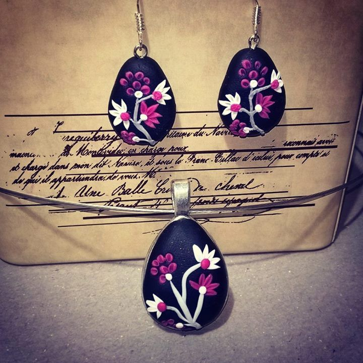 Polymer earrings and necklace