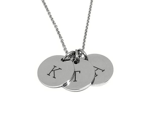 Monogram Necklace - Silver Necklace - Personalized Necklace - Charm Necklace - Gift For Mom - Mothers Necklace - Initial Necklace- For Women