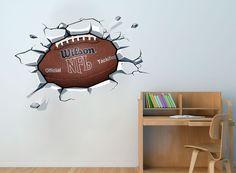 Pelota de futbol en la pared Decal Sticker por HomeArtStickers