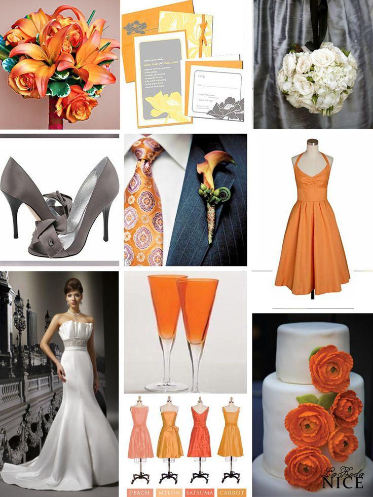 Orange/ Gray/ White wedding.  Boda Naranja / Gris / Blanco