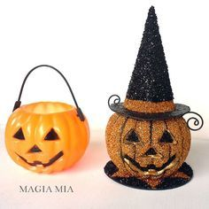 Magia Mia: Plastic pumpkin party favor transformed with Paper Mache Witch Hat, black wire, and  Black, Orange, & Autumn Hues German Glass Glitter Medley from Meyer Imports.