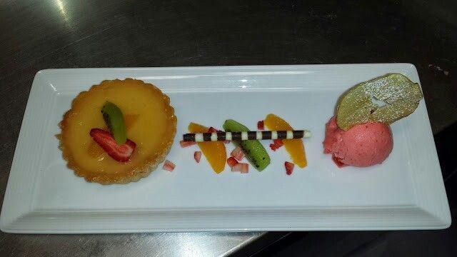 Orange tart with strawberry gelato
