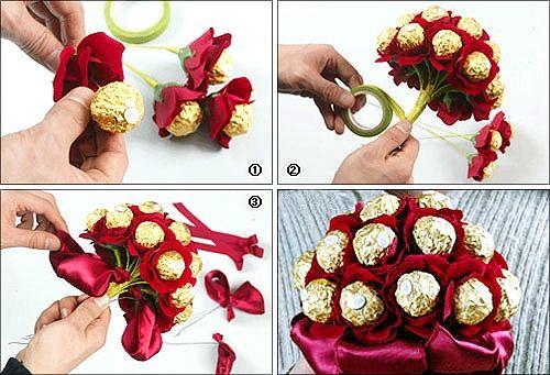 Как сделать БУКЕТЫ ИЗ КОНФЕТ. Пошаговые ФОТО, инструкции. Букеты из конфет своими руками. Делаем букеты из конфет