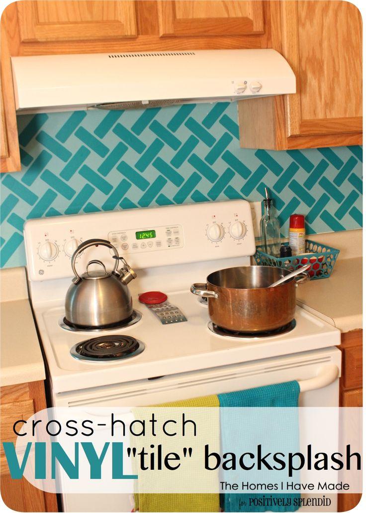 Cross-Hatch Vinyl Tile Backsplash | Positively Splendid {Crafts, Sewing, Recipes and Home Decor}
