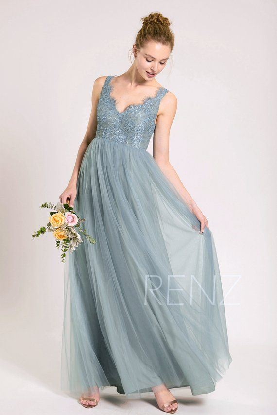 f753698ec6b Party Dress Dusty Blue Prom Dress Scalloped V Neck Bridesmaid Dress ...