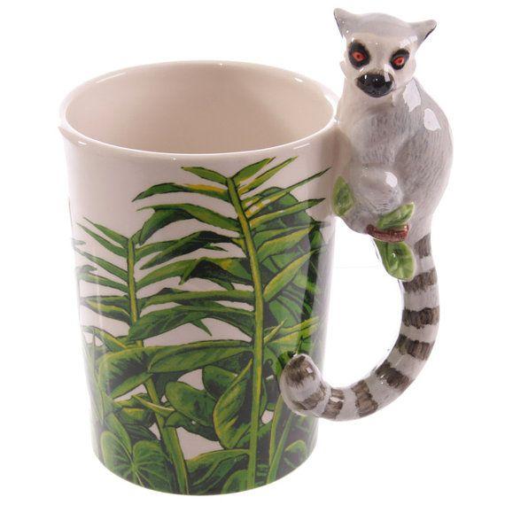 Coffee Mug Novelty Ceramic Jungle Cup Lemur Shaped by getgiftideas