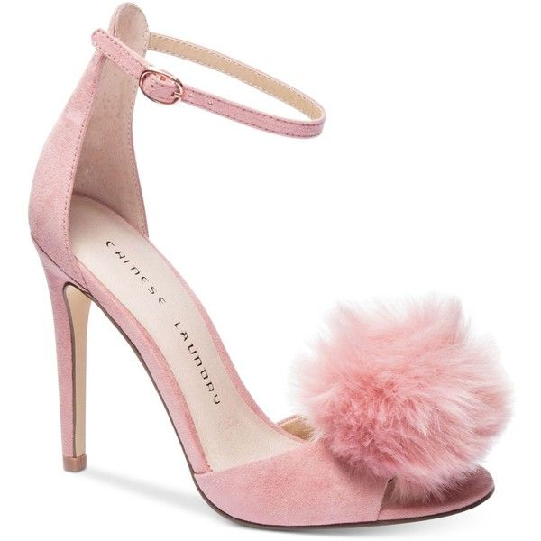 Chinese Laundry Jannet Pom-Pom Sandals ($89) ❤ liked on Polyvore featuring shoes, sandals, rose, chinese laundry sandals, chinese laundry, rose shoes, fancy sandals and fancy shoes