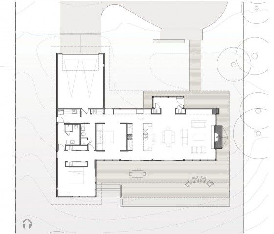 Plano de casa de madera de un piso