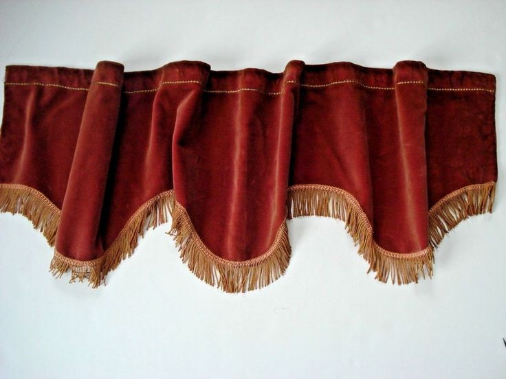 """VICTORIAN VALANCE. fringe is fully intact. casing is couched in gold thread. could use light cleaning, mostly at top of casing. scalloped rust velvet. lovely for window or door. 13"""" at deepest point.   eBay!"""