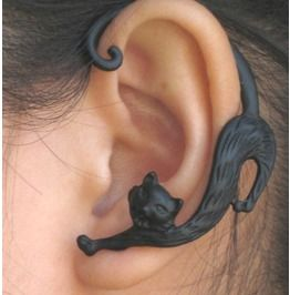 Very Rare Black Cat Ear Cuff Earring http://www.rebelsmarket.com/products/very-rare-black-cat-ear-cuff-earring-12183----rare?  hmm, simple enough to make with polymer clay