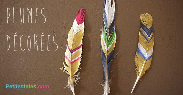 Plumes décorées et peintes par les enfants