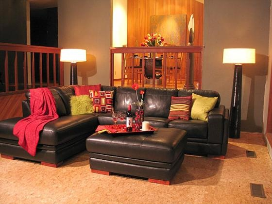 Chocolate brown couch with red and green accents