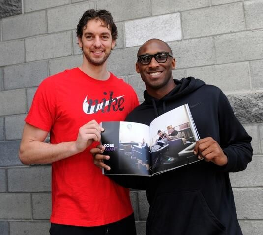 Pau Gasol and Kobe Bryant. I am going to miss them playing together on the Lakers, BUT I'm so happy Pau's free of the Lakers!!!