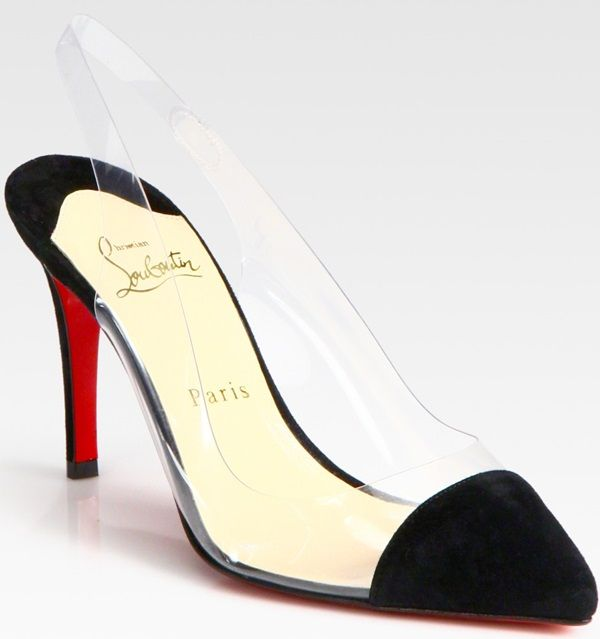 Christian Louboutin Translucent Pointed Toe Suede Slingback Pumps