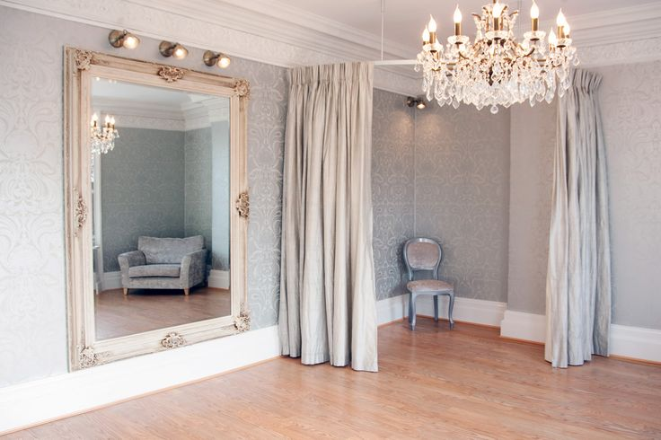 Gorgeous Bridal Boutique Interior!  A stunning dressing room to make every bride feel special.  Designed by Atlas Interiors, Cheshire #fitness_room_mirror