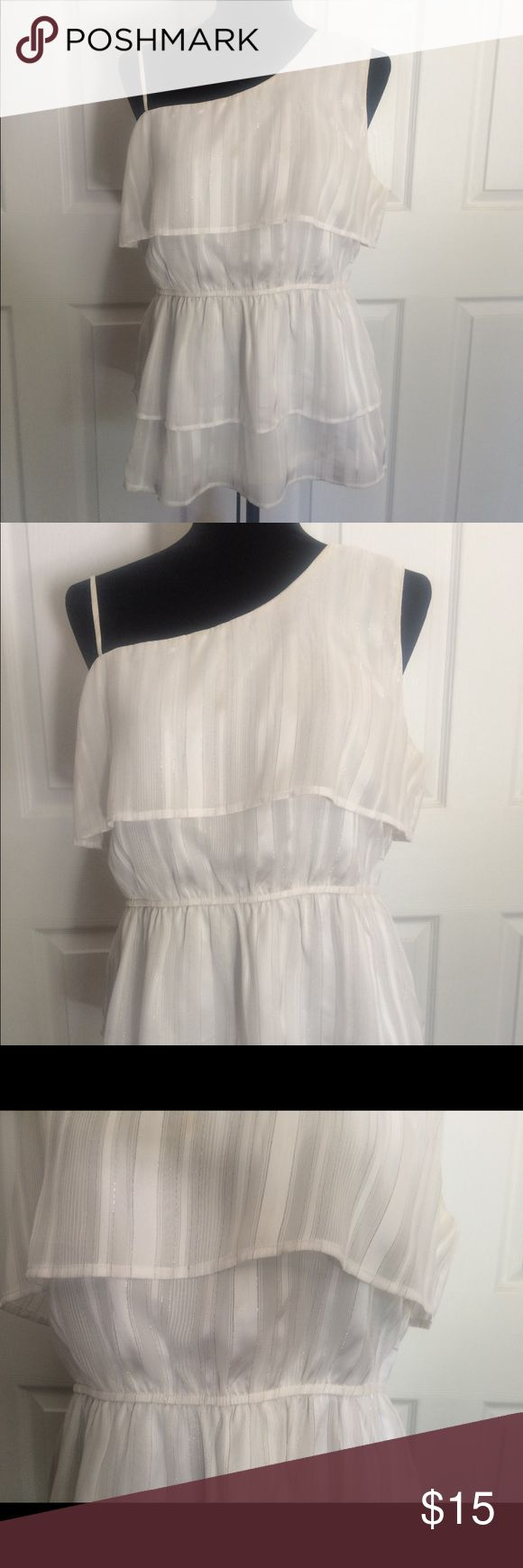 Women's White and silver blouse.  Size large. Studio Y women's white with silver stripes blouse.  Very pretty and I'm good condition!  Size large.  100% polyester. Studio Y Tops Blouses