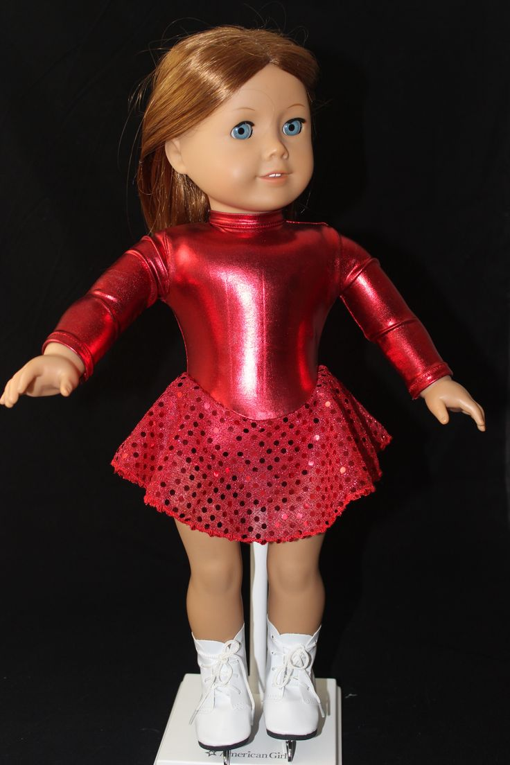 """MissyCrissy2 made this stunning crimson skating dress for American Girl dolls using Lee & Pearl's Pattern #1055: Skating Dresses for 18"""" Dolls, available in our Etsy store at https://www.etsy.com/shop/leeandpearl"""