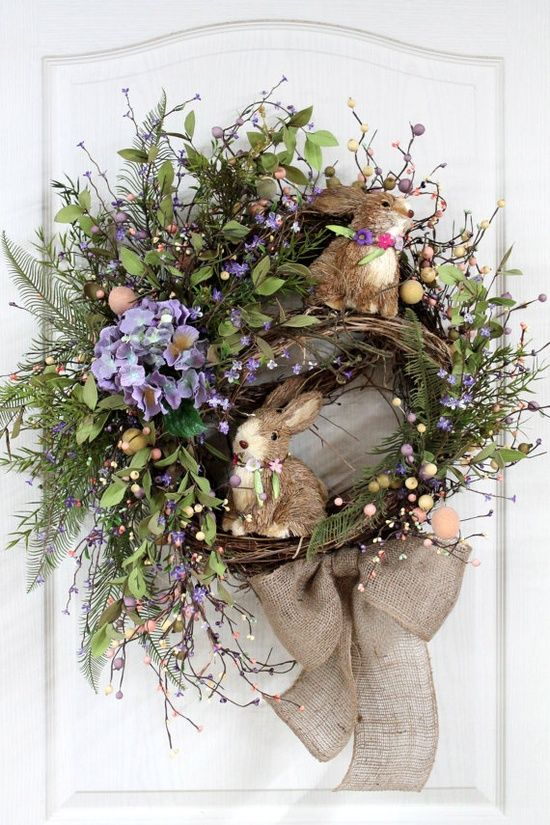 (via Easter Parade ❤ / Easter Door Wreath Primitive Country Wreath)