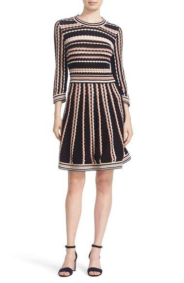 kate spade new york scallop stripe knit dress