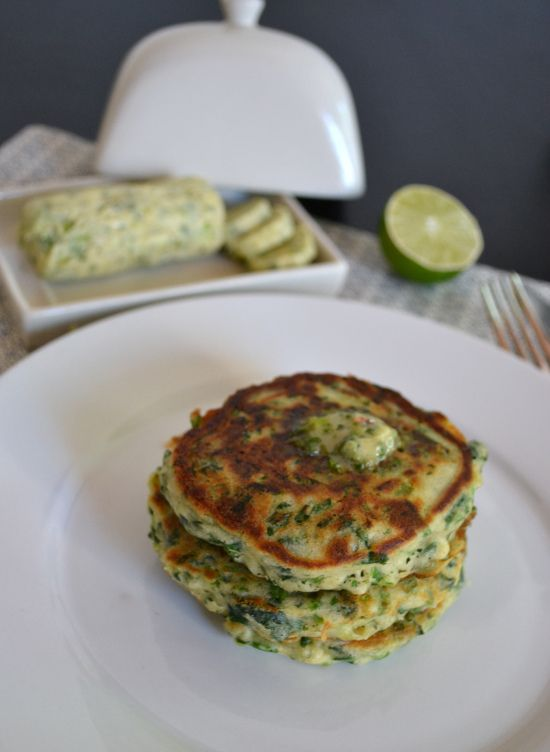 Yotam Ottolenghi's Spinach and spring onion pancakes with a lime & chilli butter. These are amazingly delicious!