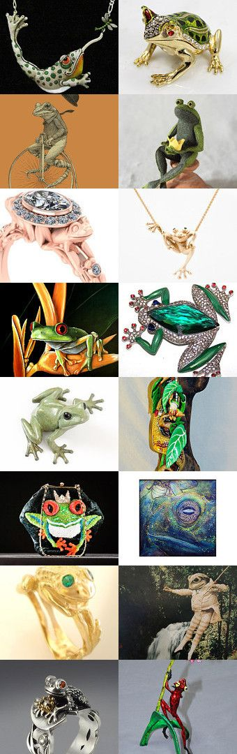 Froggie Went a'Courting by TurbanDiva on Etsy Unique Frog jewelry, frog art, frog necklace, frog ring