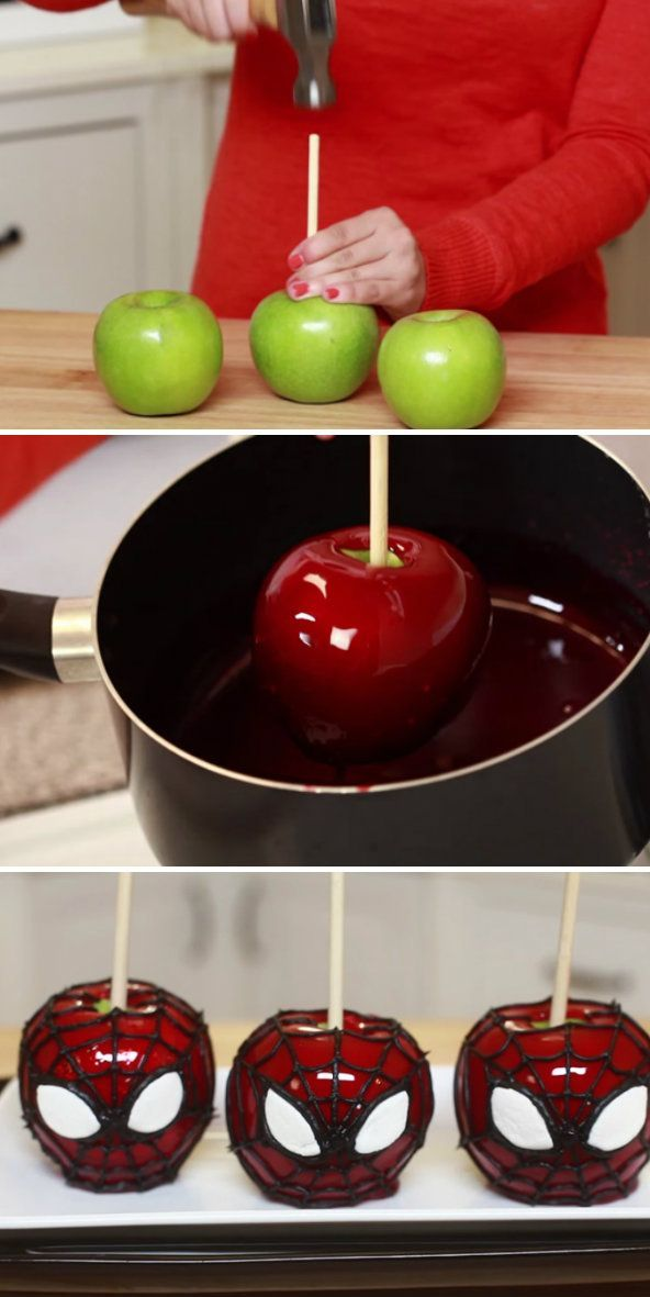 Spiderman Candy Apples. These would be awesome for a Super hero or Spiderman birthday party or Halloween party. How cool is this candy apple recipe!