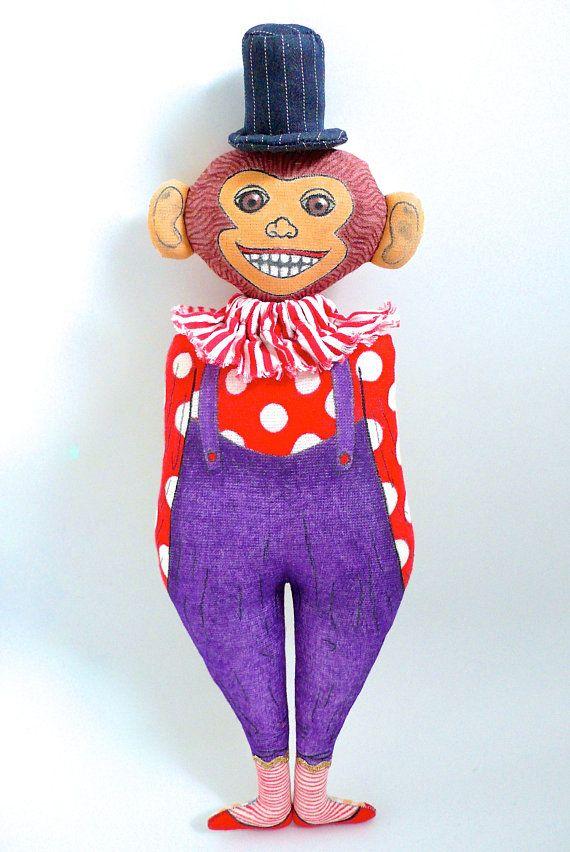 Le singe de Cirque Poupée peinte et dessinée tissus vintage