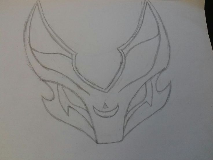 I drew a Blood Moon Kennen mask from League of Legends... (by: me)