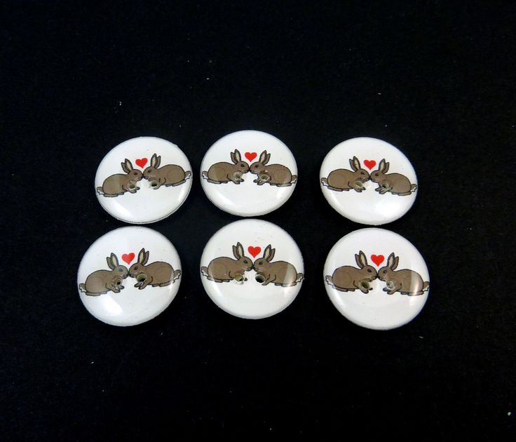 """6 Rabbit Buttons. Handmade By Me. Kissing Rabbit and Heart Buttons for Sewing. 3/4"""" or 20 mm round. Washer and Dryer Safe. by buttonsbyrobin on Etsy"""