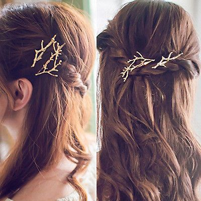 Details about 2pcs New Girls Women Metal Branch Leaves Hairpin Bobby Pin Hair Clip Accessories