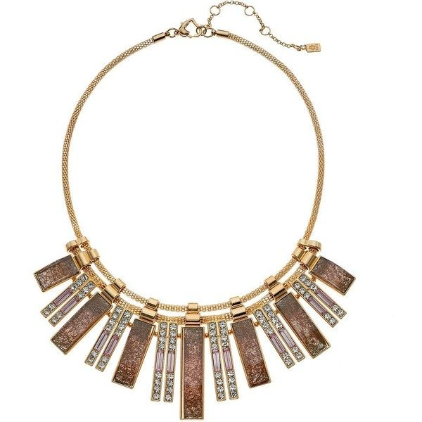 Jennifer Lopez Simulated Crystal Bar Statement Necklace ($15) ❤ liked on Polyvore featuring jewelry, necklaces, pink, statement necklace, crystal jewelry, clasp necklace, jennifer lopez jewelry and fake crystal necklace
