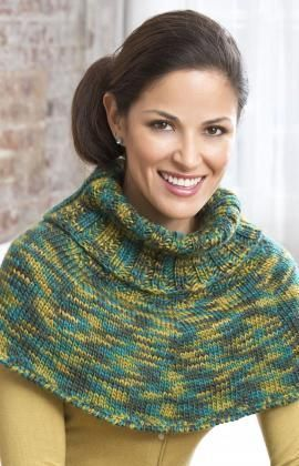 Ribbed Neck Poncho Free Knitting Pattern from Red Heart Yarns